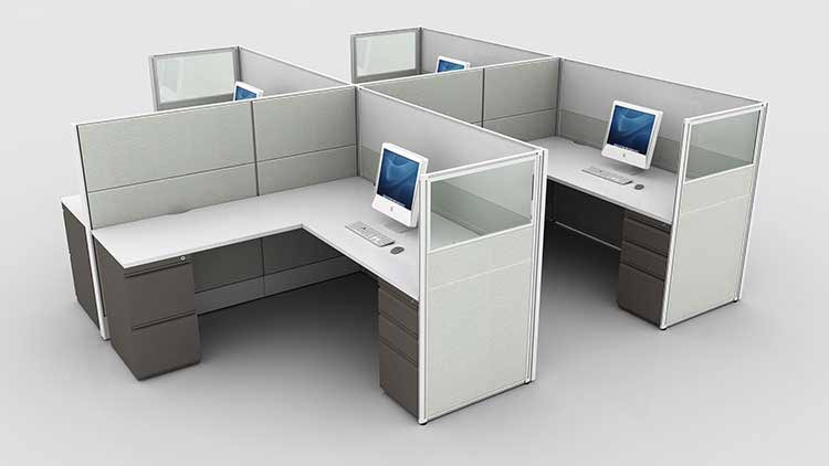 L-Shaped Furniture Stations Render