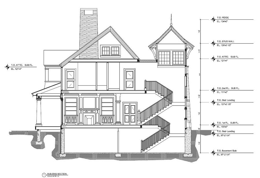 Architectural Building Section View in AutoCAD