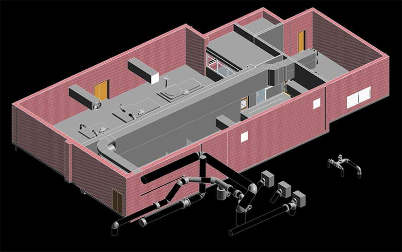 Converted 3D Scanned Point Cloud Data for a College Backyard Mechanical House, UK
