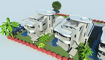 3D Rendered Top view of a House