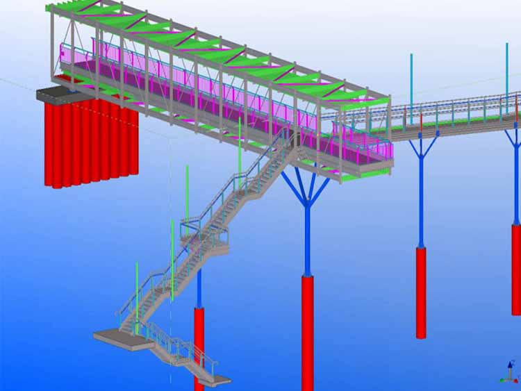 Tekla Steel detailing of Pedestrian Bridge
