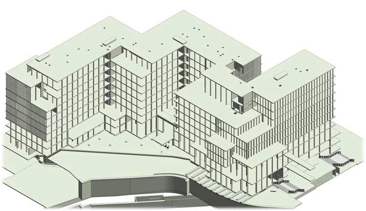 3D Structural Model of Multistory Mixed Use Building